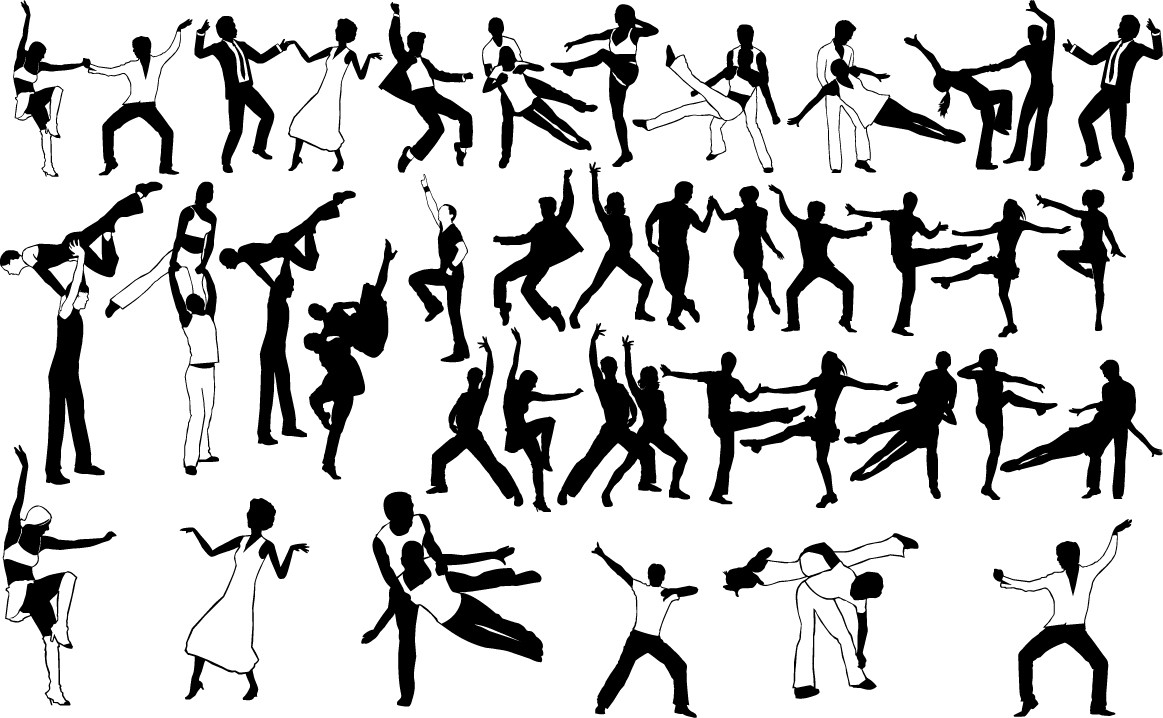 Rock and roll dancing silhouette png