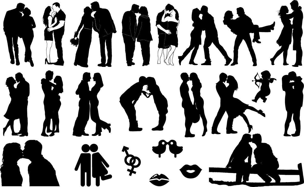 Romantic kisses silhouette png