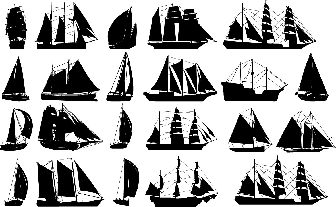 Sailboats silhouettes png