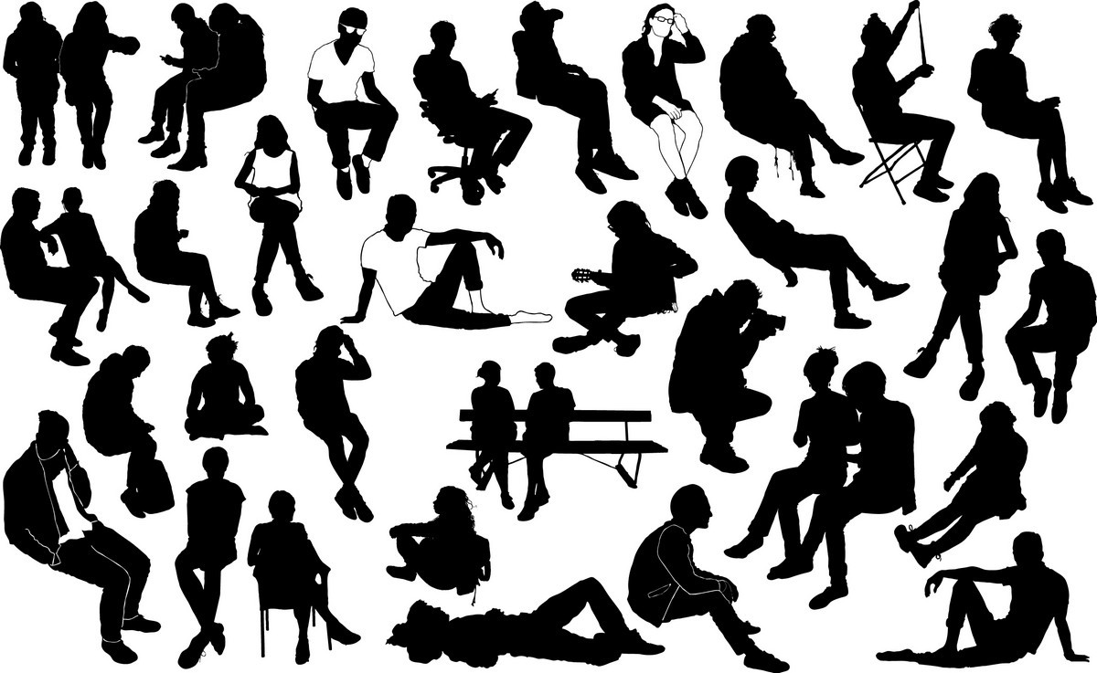 Sitting people silhouettes png