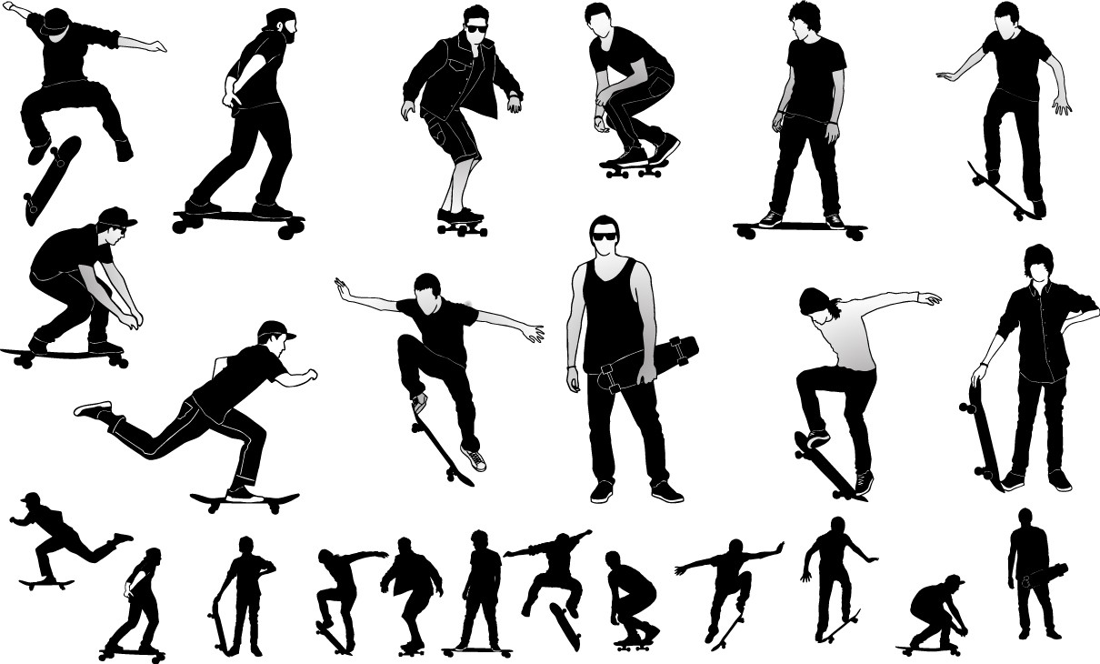 Skateboarders silhouette png