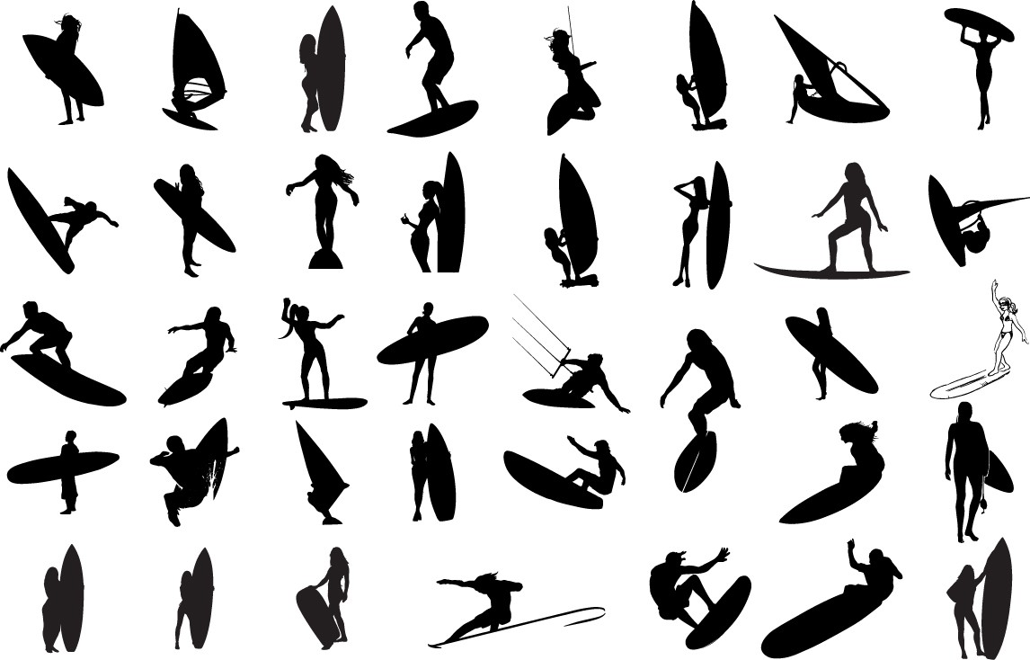 Surfers silhouette png