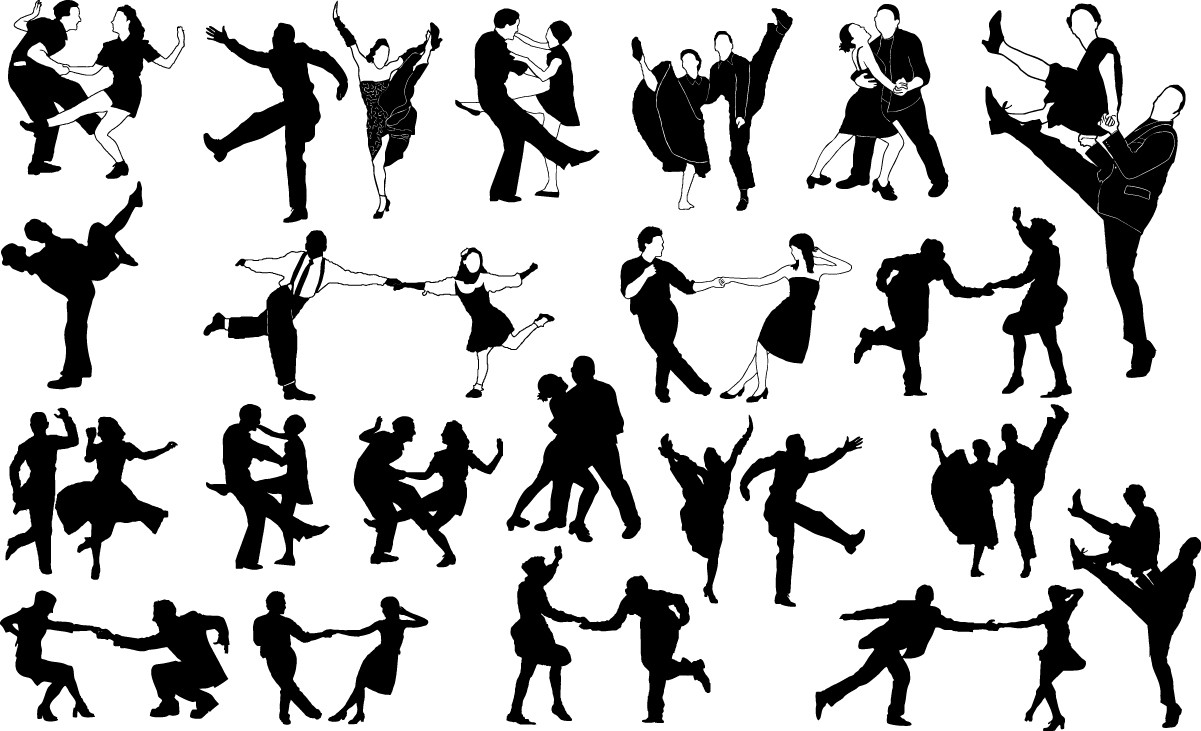 Swing dancers silhouettes png