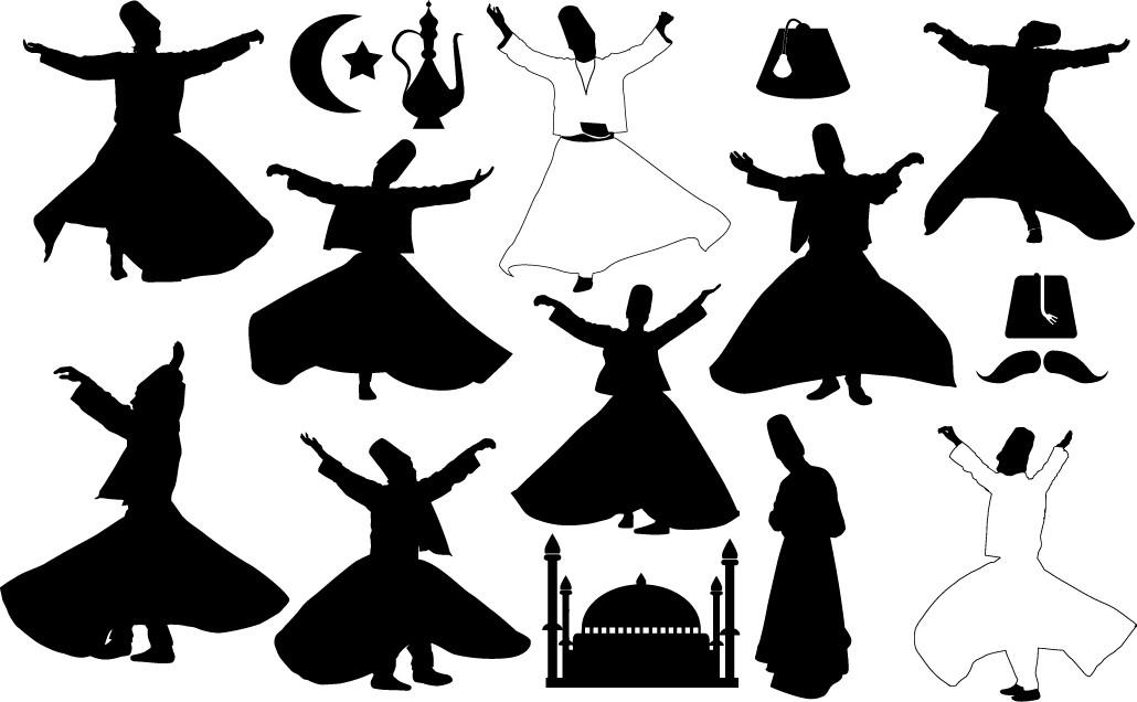Turkey dancers silhouettes   Whirling png