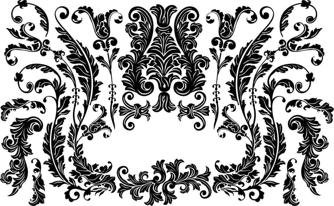Victorian floral ornaments png