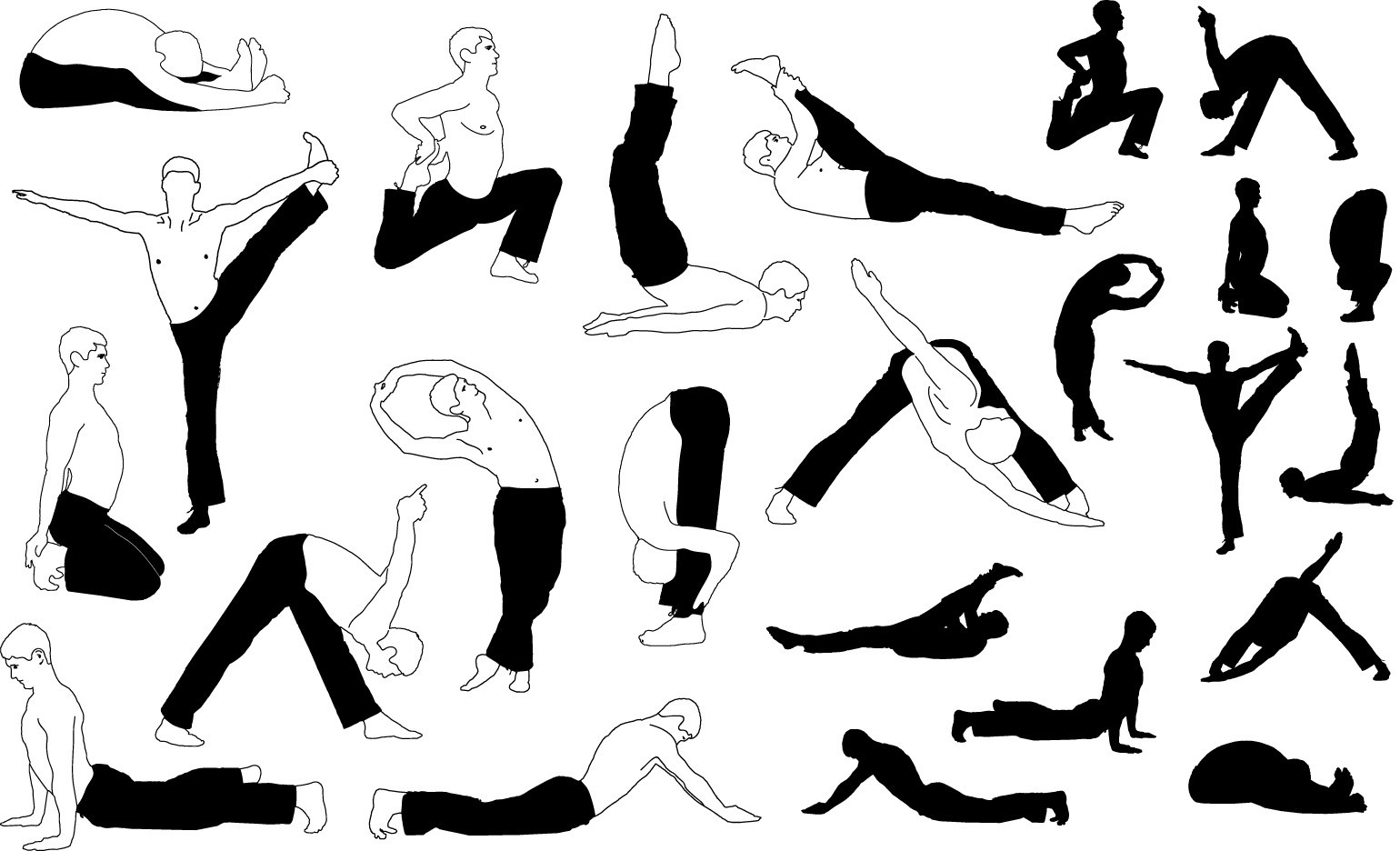 Yoga male silhouettes png