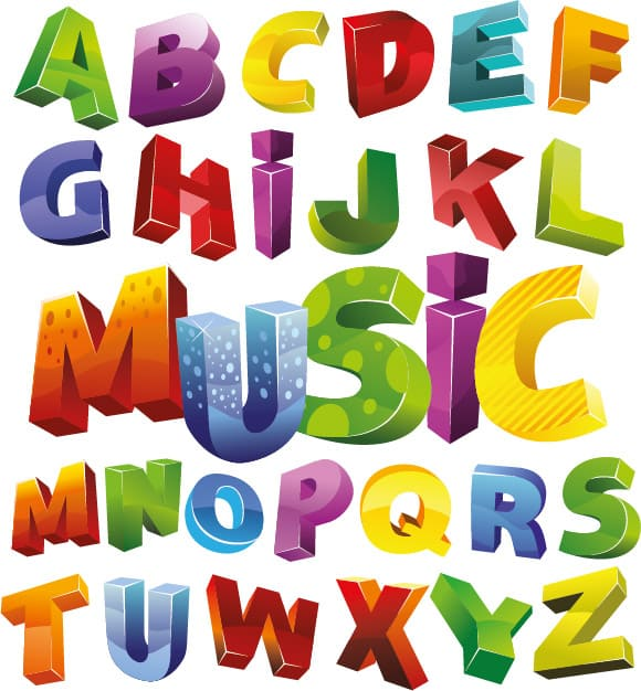 Colorful 3D Alphabet Vector Art png