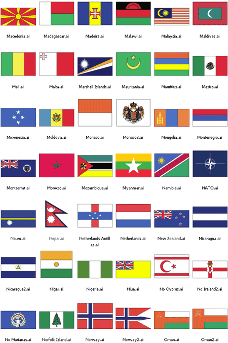 World Flags Set   AI Format png